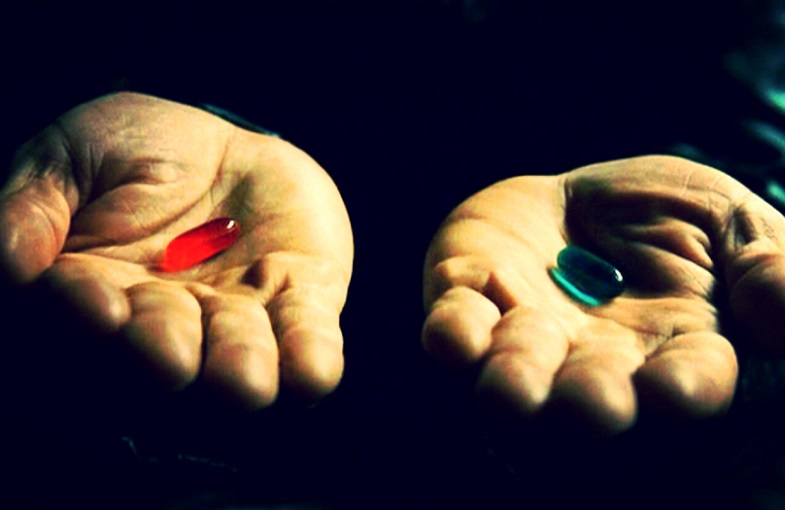 """The Matrix"" blue vs red pill"
